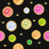 Seamless pattern with different jewels. Gemstone treasure background. Royalty Free Stock Images