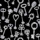 Seamless pattern with different keys Royalty Free Stock Photos