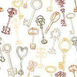 Seamless pattern with different keys Stock Photography