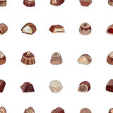 Seamless pattern with different kinds of chocolate candies - milk,dark,white chocolate. Objects on white. Stock Image