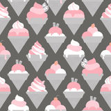 Seamless pattern with different kinds of ice cream Stock Photos