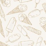 Seamless pattern of different kinds of ice cream on white background. Vector in sketch style. Seamless pattern of different kinds of ice cream on white Stock Images