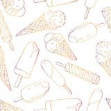 Seamless pattern of different kinds of ice cream on white background. Vector in sketch style. Seamless pattern of different kinds of ice cream on white Stock Photos
