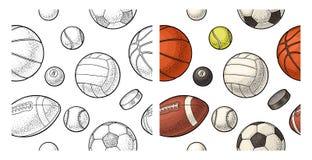 Seamless pattern different kinds sport balls. Vintage color vector engraving vector illustration