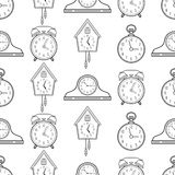 Seamless pattern with different kinds of watches. Linear icons, objects Royalty Free Stock Photo