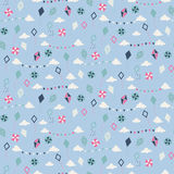 Seamless pattern with different kites Royalty Free Stock Images