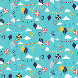 Seamless pattern with different kites Royalty Free Stock Photography