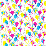 Seamless pattern with different kites Stock Photography