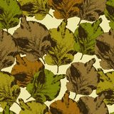 Seamless pattern with different  leaves Stock Photography