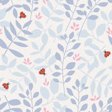 Seamless pattern with different leaves and ladybugs vector illustration
