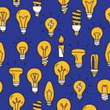 Seamless pattern of the different light bulbs Royalty Free Stock Images