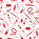 Seamless pattern of different lip make-up tools. Vector illustration of lipsticks, mirror, lip liner, lip gloss and other. Glamour fashion vogue style stock illustration