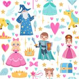 Seamless pattern with different magic elements. Fairytale illustrations in cartoon style. Magic fantasy dream seamless pattern with unicorn Stock Photo
