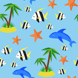 Seamless pattern with different marina creatures Stock Photos
