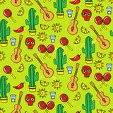 Seamless pattern with different mexican elements. Vector illustration Stock Image
