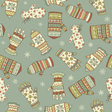 Seamless pattern with different mittens Royalty Free Stock Photo