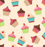 Seamless Pattern with Different Muffins Royalty Free Stock Photo