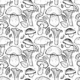 Seamless pattern with different mushrooms Royalty Free Stock Image