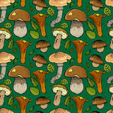 Seamless pattern with different mushrooms Royalty Free Stock Photography