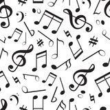 Seamless pattern with different music notes stock illustration