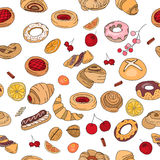 Seamless pattern with different  pastry. Stock Photo