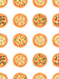 Seamless pattern with different pizza including margherita, pepperoni, shrimp, onion, chili pepper, bacon, tomatoes. Vector backgr Royalty Free Stock Photography