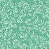 Seamless pattern of different roses , randomly arranged on a green background. vector illustration