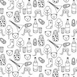 Seamless pattern with different russian elements. Royalty Free Stock Photo
