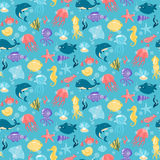 Seamless pattern with different sea underwater animals in cute c Stock Image