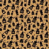 Seamless pattern with different shapes vintage coffee mills silh Stock Photos
