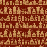 Seamless pattern with different shapes vintage coffee mills Stock Image