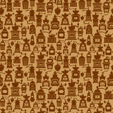 Seamless pattern with different shapes vintage coffee mills  Stock Photography