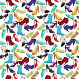 Seamless pattern with different shoes Royalty Free Stock Images