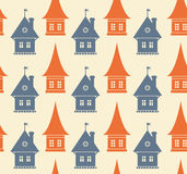 Seamless pattern with different silhouettes of hou. Ses. Simple geometrical town background. Cityscape endless texture Stock Image