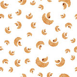 A seamless pattern with different size of croissants. For the bakery menu Stock Image