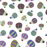 Seamless Pattern of different size multi-colored hot air balloons isolated on white transparent background in high resolution royalty free stock images
