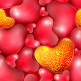 Seamless pattern with different sized hearts to the Happy Valentine's day Stock Photo