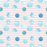 Seamless pattern of different sizes blue green watercolor hand painted round shapes, stains, circles, blobs isolated on pink strip. Ed background. Design for stock illustration