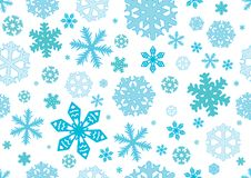 Seamless pattern of different snowflakes, Christmas background. Vector Illustration