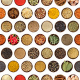 Seamless pattern with different spices in round wooden bowl Stock Image