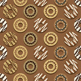 Seamless Pattern Different Style Chocolate Donuts Background. stock illustration