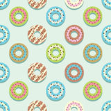 Seamless Pattern Different Style Strawberry Donuts Background. stock illustration