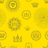 Seamless pattern with different stylized crowns and precious stones on yellow background. Elegant linear graphic design. Vector illustration Stock Image