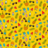 Seamless pattern with different summer cocktails Stock Photo