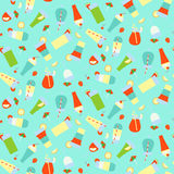 Seamless pattern with different summer refreshing drinks and coc Stock Photos