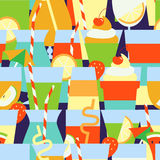 Seamless pattern with different summer refreshing drinks and coc Stock Images