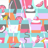 Seamless pattern with different summer refreshing drinks and coc Royalty Free Stock Photography