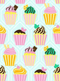 Seamless pattern with different sweet cupcakes Royalty Free Stock Photo
