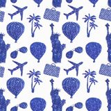 Seamless pattern with different symbols of travel of blue glitter. Statue of Liberty, air balloons, airplanes Royalty Free Stock Photos