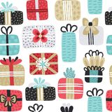 Seamless pattern with different textured gift boxes. Hand drawn elements. Background with holiday design. Freehand style. Doodle. Wallpaper, textiles, wrapping stock illustration